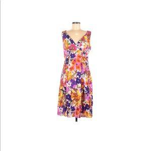 Adrianna Papell floral midi dress pinks purple  10
